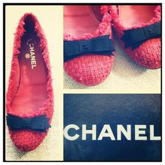 $695 coral red tweed/boucle ballet flats ❤ liked on Polyvore