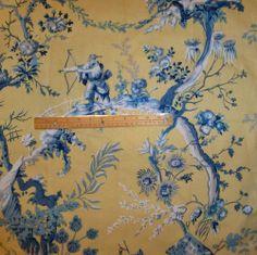 BRUNSCHWIG & FILS CHINOISERIE TOILE FABRIC 10 YARDS YELLOW BLUE