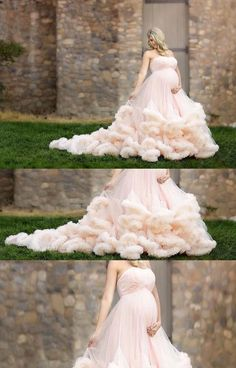 46bb412fde6cb 2017 Pink Maternity Long Cloud Strapless Pregnant Wedding Dresses ...
