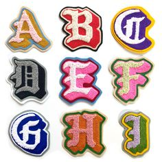Chenille & Chainstitch Letter Patches Handmade - World Famous Original Chain Stitch Embroidery, Embroidery Letters, Diy Embroidery, Machine Embroidery, Indian Embroidery, Embroidery Designs, Embroidered Name Patches, Embroidery Patches, Arte Cholo