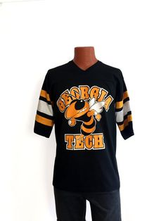 Vintage 80s 90s Georgia Tech Athletic T-Shirt LARGE - Atlanta - Technology - Yellow Jackets - NCAA - College Basketball - Throwback - Alumni oES66Sz5