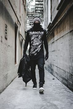 Damascus Apparel - We are The People of Silk & Steel based out of San Diego, CA - Ascend Together Mode Cyberpunk, Cyberpunk Fashion, Street Goth, Street Wear, Dark Fashion, Mens Fashion, Layering Outfits, Urban Street Style, Denim Jeans Men