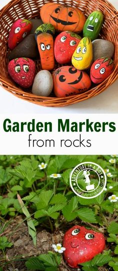 How to Make Garden Markers from Rocks: Simple, cheap and cute craft to make in preparation for gardening this spring. Fun to do with kids or friends! #organicgardenhowto #RockGarden