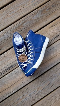 Colchestor Rubber Co blue high top sneakers Gq Fashion, Mens Boots Fashion, Sneakers Fashion, Fashion Guide, Cheap Fashion, High Top Basketball Shoes, Basketball Sneakers, Blue High Tops, Comfortable Mens Shoes