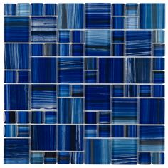 Glass Mosaic Tile Royal Blue Pattern works for swimming pools, backsplash, bathroom, and shower walls. The colors are given by a coating applied on the back of each tile with variances of different to