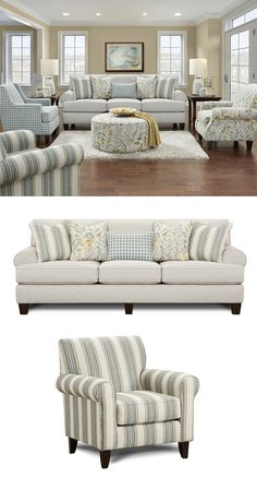 An assortment of throw pillows adds style and comfort to this sofa. Its set back rolled arms add timeless style, while reversible loose back cushions and loose seat cushions are a practical feature. The Thrillist Fog Sofa with Reversible Cushions by Fusio Furniture Decor, Farm House Living Room, Living Room Furniture Sofas, Furniture, Living Room Sofa, Open Living Room Design, Fusion Furniture, Living Room Furniture, Room Design