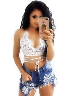 New high-end ladies's all-match denim shorts torn holes burrs excessive elastic tight temptation attractive hip brief pockets uncovered denims Denim Outfit For Women, Clothes For Women, Women's Clothes, Cute Summer Outfits, Cute Outfits, Party Outfits, Ripped Shorts, Denim Shorts, Ripped Denim