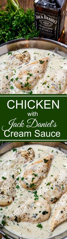 Chicken with Jack Daniel's Cream Sauce is super rich and creamy and can be on the table in 30 minutes.