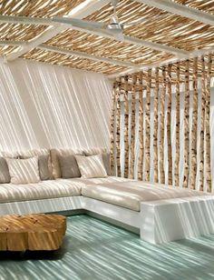 Banquette de jardin moderne style canapé en tissu
