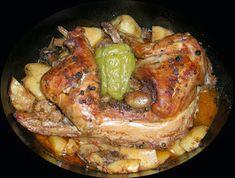 Οι Συνταγές της Λόπης: Κουνέλι στη Γάστρα Greek Recipes, Chicken Wings, Poultry, Baking Recipes, Recipies, Pork, Food And Drink, Turkey, Tasty