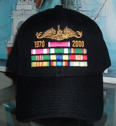 DOLPHINS OUTLINED IN BALCK WITH 10 RIBBONS   DATES. HATS OFF · VETERAN  CUSTOM MADE BALL CAPS 30625da98496