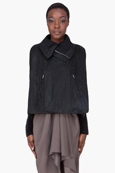 RICK OWENS Black Leather Sailbiker Jacket