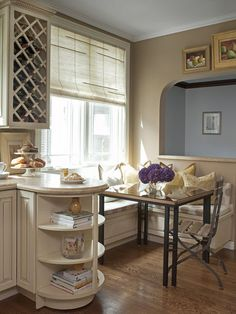 kitchen nook - benches and windows, use smaller table maybe?... traditional kitchen by Ken Gutmaker Architectural Photography