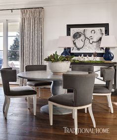 Klismos chairs in the casual dining area are covered in indoor-outdoor fabric from Dedar. - Photo: Emily Jenkins Followill / Design: Amy Morris