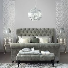 Although I like to always add color, this bedroom in all silver is luxurious