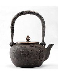 """""""Moon and Winds"""" Chinese Japanese Style Cast Iron Teapot Food Grade Tetsubin Water Kettle  Material: food grade metal imported from Australia. The cover is made by copper. Wisdom China Cast Iron Teapot came from our partnership brand Duhetang, who is a best iron cast kettle producer in China, their products is very popular in Japan and passed Japan's strict product check. Quality products from Wisdom China store!"""
