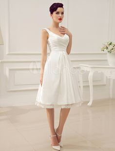 Ivory V-Neck Backless Pleated Satin Short Wedding Dress - Milanoo.com