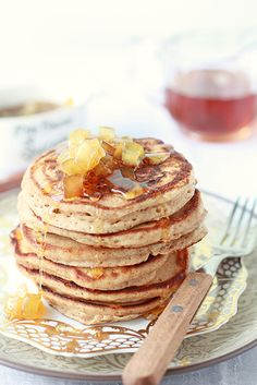 Spiced pancakes with apple maple syrup!