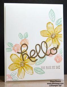 Stampin Up! Garden in Bloom CS - Whisper White, Soft Suede SP - Hello Honey, Mint Macaroon, Blushing Bride, Soft Suede