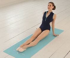 ballet arms: hands behind hips, fingers facing out. Lift hips up and down stretching the elbows and keeping the chest open and the neck long. Remember to pull your stomach in tight and to bend the elbows slightly. Repeat 30 times keeping the stomach strong and hips elevated the entire time.