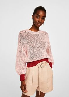 e5f0adb65878b3 Contrast panel sweater - Woman