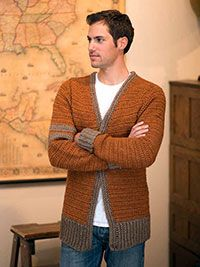 Ravelry: Classic Letterman Sweater pattern by Rohn Strong Crochet Cardigan Pattern, Crochet Jacket, Crochet Men, Crochet Wool, Crochet Winter, Boys Sweaters, Winter Sweaters, Men Sweater, Man Fashion