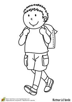Dessin à colorier d'un petit garçon à portant un