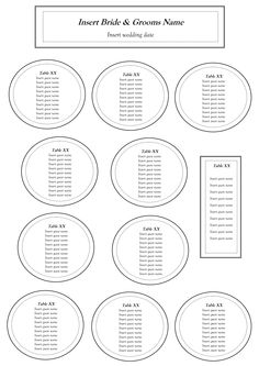 Free Table Seating Chart Template Reception Wedding