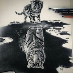 Reflection  Art by @maddog_tatts  Follow @artboundless for more! - #instaart #dailyart #ink #inkdaily #artsy #art #sketch #paint #painting #awesome #tiger #cat #black