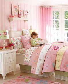 little girl's room - like the baskets under the bed