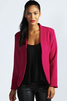 Amerie Collarless Tailored Blazer at boohoo.com