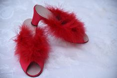 c21f2afe63e6 Vintage Oomphies Red Marabou Boudoir Slippers 1950 s Never worn Made in the  USA Size 8
