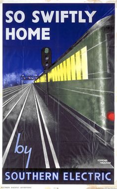'So Swiftly Home', SR poster, 1932. Poster produced by Southern Railway (SR) to promote electric train services. Artwork by Edmond Vaughan. Prices start at £1.50 from www.vintagerailposters.co.uk #Vintage #Rail #Train #Poster #Print #Art #Old #Classic #British #UK #Travel #Railway #Posters #Gifts #Products #Merchandise #England #Present #Historic #Retro