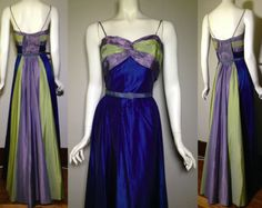 Vintage Rare 1940s 1950s Multi Tone Blue Formal Evening Gown Dress in Clothing, Shoes & Accessories, Vintage, Women's Vintage Clothing, 1947-64 (New Look-Early 60s), Dresses | eBay