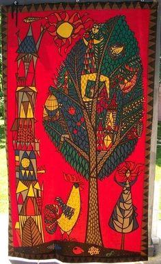 "Rare Vintage Stig Lindberg Artist Velvet Wall Tapestry ""Tree of Life"" 4' x 7'"
