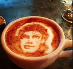 Michael Jackson Latte Art - Mike Breach, a barista at a Manhattan hotel, began experimenting with creating drawings on the top of lattes while at work. Click the photo to view more coffee art.