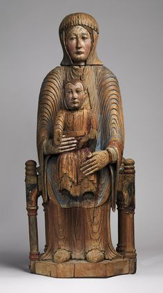 Virgin and Child in Majesty, 1150–1200  French; Made in Auvergne  Walnut with paint, gesso, and linen