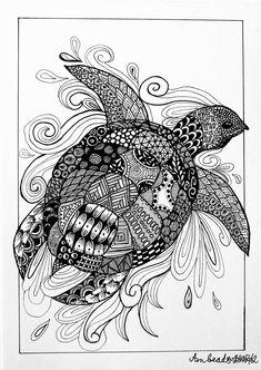 Animal Paintings, Animal Drawings, Art Drawings, Zentangle Drawings, Zentangles, Zen Art, Tier Fotos, Drawing Challenge, Beach Art
