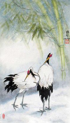 Darlene Kaplan - Cranes on Ice #Sumi-e