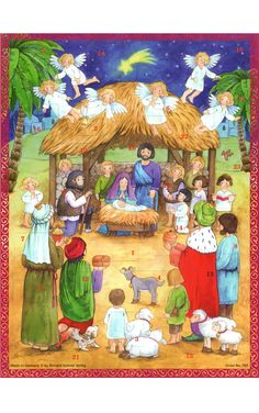 Sellmer Large Nativity with Children Advent Calendar (Set of 2)