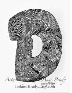 ACEO Alphabet Letter D zentangle doodle initial monogram art print by Karen Anne Brady