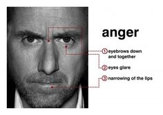 Descriptive Faces--A Resource for Writers: Facial Expressions--Anger Facial Action Coding System, Universal Emotions, Reading Body Language, Face Reading, Life Coach Training, Self Defense Techniques, Nlp Techniques, How To Read People, Tim Roth