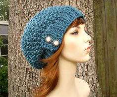 Hand Knit Hat Womens Hat  The Seed Beret Hat in Teal by pixiebell, $50.00
