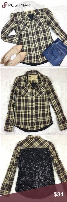 Blank NYC Sequin Back Plaid Button Down Blank NYC Sequin Back Plaid Button Down. Size extra small. Pre-owned condition with no major flaws. Blank NYC Tops Button Down Shirts