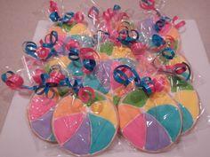 Beach Ball Cookie Favors by MerciBeauCookies.blogspot.com