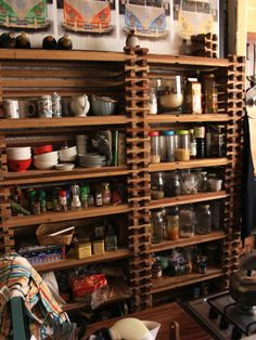 Wow! Pallet shelving that's beautiful!