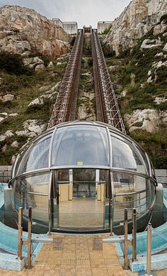 Picture of the day for April 2 2016 by Wikipedia Panoramic lift to St Peter's Hill La Coruña Spain. Its track is 100 m long and climbs 63 m. The lift has operated since Outdoor Stair Railing, Wrought Iron Stair Railing, Stair Railing Design, Us Bank Tower, Stairs Treads And Risers, Stair Climbing, Concrete Steps, World Trade Center, Architecture Details