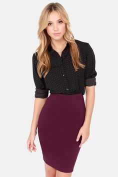 Sketched Out Burgundy Pencil Skirt | Pencil skirts, Grey cardigan ...