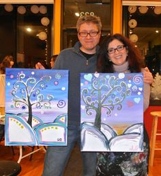 Another snowy painting! We love this Funky Snowy Tree.