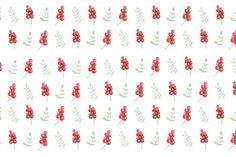#Watercolor berries and branches  Red berries and green branches pattern painted with watercolor on white background. Illustration for bloggers designers magazines social media and artists. This purchase includes one high resolution horizontal digital image. Image is a sRBG jpg and is approximately 6000x4000 pixels. License terms: http://ift.tt/1W9AIer